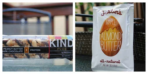 Kind Bar and Justin's Maple Almond Butter