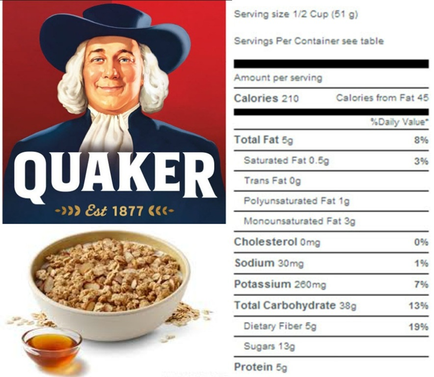 Note that serving size is only 1 2 C and that gives you 210 calories    Quaker Oats Nutrition Facts
