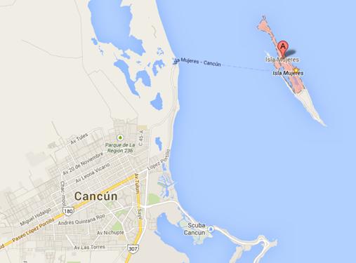Isla Mujeres, MX map