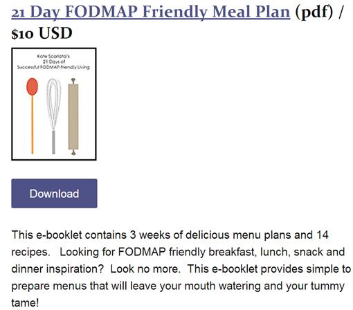 Kate Scarlata 21 day FODMAP Friendly Meal Plan