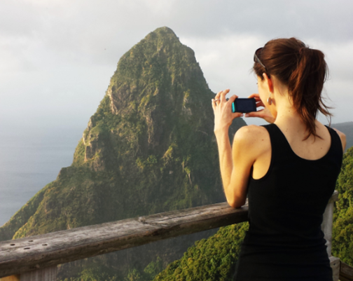 K photographing Piton in St. Lucia