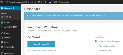 Wordpress Blog Dashboard