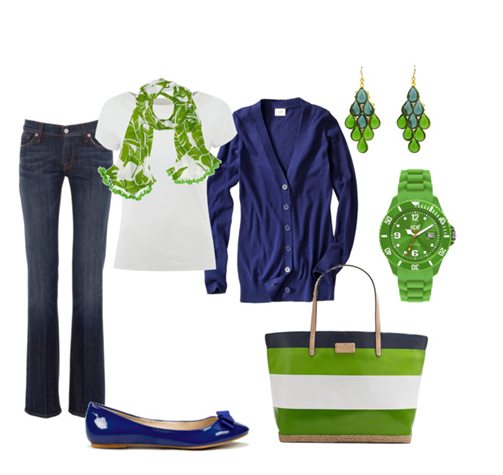 Blue and Green Spring Outfit from Polyvore
