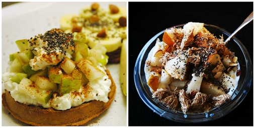 Waffles with cottage cheese and apples. Yogurt with pears.