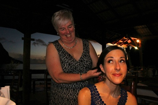 Mom playing with my hair in St. Lucia