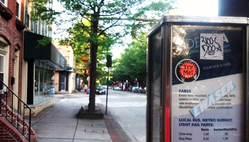 Bus stop outside our Fells Point House