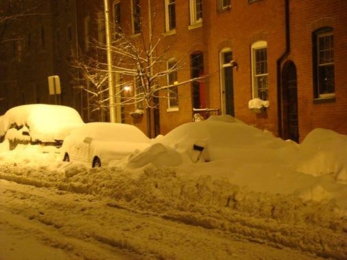 Blizzard parking in Fells Point