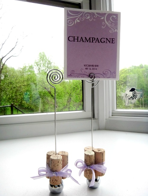 DIY Wine Cork Table Number Holders with sign