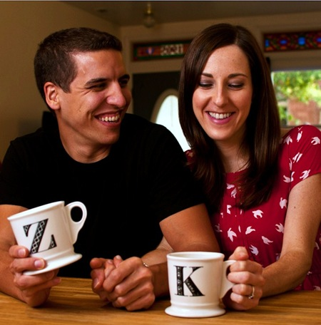 K and Z with Anthropologie Initial Mugs