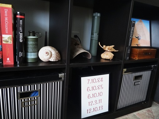 Bookshelf Styling with military memorabilia