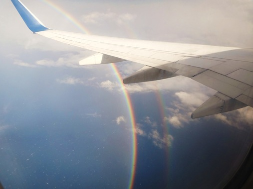 Rainbow from airplane window