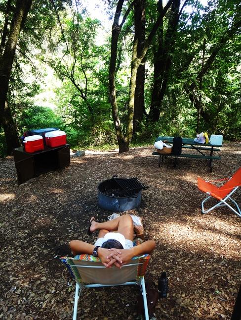 Jordana resting at campsite