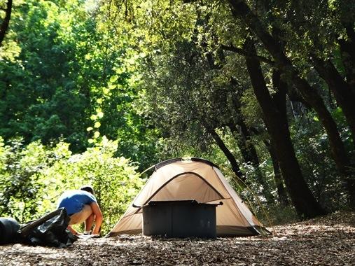 Z setting up tent at Whiskeytown Lake, CA