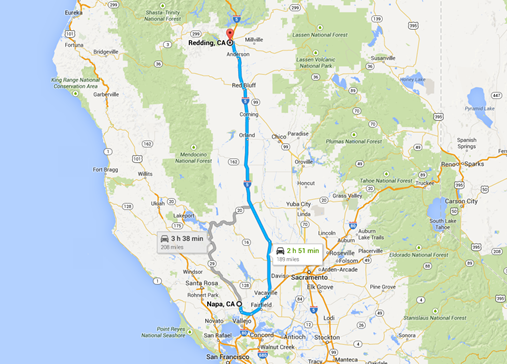 Napa to Redding driving route