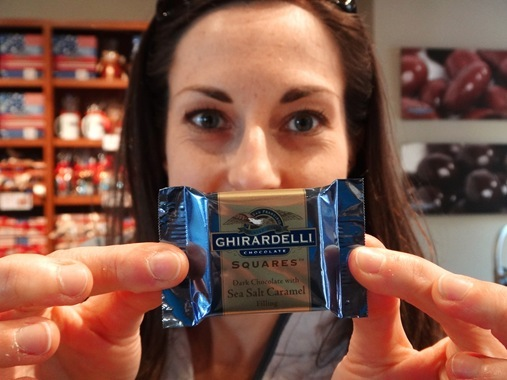 K with chocolate at Ghiradelli Square San Francisco